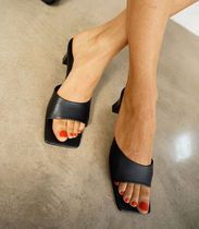 """""""& Other Stories""""新作☆Squared Toe Heeled Leather Mules(黒)"""