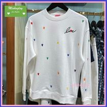 【kate spade】rainbow embroidered hearts sweatshirt ♤