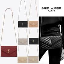 YSL【大人気】ENVELOPE CHAIN WALLET★Compactに光る存在感 全色