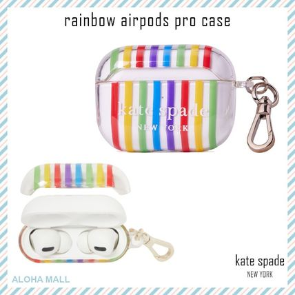 【kate spade】 rainbow airpods pro case♪キーリング付き♪