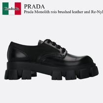 Prada Monolith rois brushed leather and Re-Nylon derby shoes