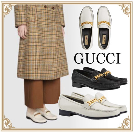GUCCI☆ Lady's Leather Loafers With Chain For Women 2color (GUCCI/ローファー・オックスフォード) 645445 16M00 9050