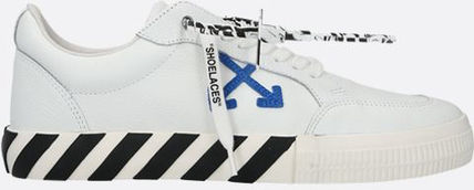 OFF WHITE■ss21/LOW VULCANIZED GRAINY LEATHER SNEAKERS