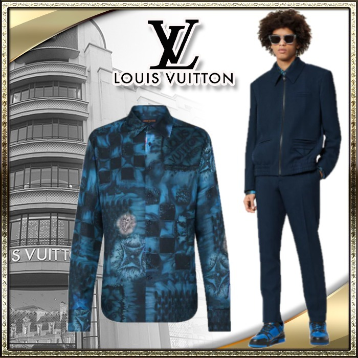 21AW LOUIS VUITTON 直営 メンズ シャツ ダミエ・ソルト シルク (Louis Vuitton/シャツ) 1A8XBW