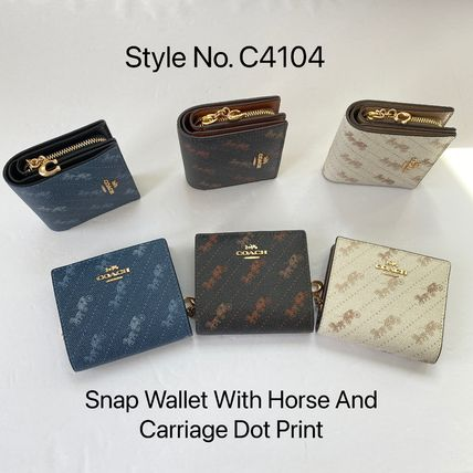 Coach 折りたたみ財布 21年5月 COACH★Snap Wallet With Horse And Carriage Dot Print