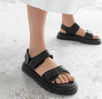 """☆""""& Other Stories""""新作☆Croc Embossed Leather Sandals(黒)"""