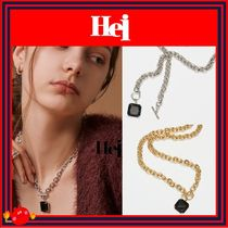 Hei(ヘイ) ネックレス・チョーカー [Hei]芸能人着用/black square toggle necklace /兼用◆追跡付