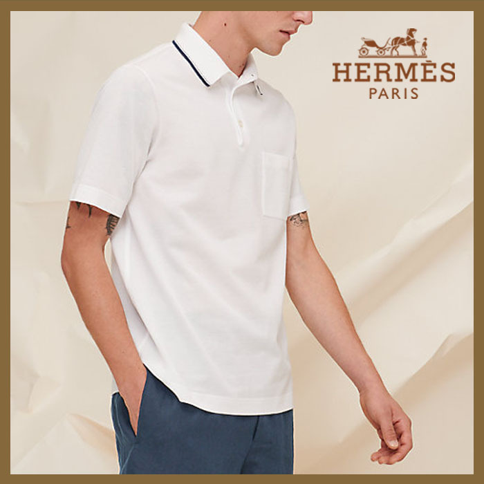 HERMES ポロシャツ《Rayure Sellier》ホワイト  直営 (HERMES/ポロシャツ) H157930HA90
