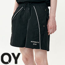 ★OY★DIAGONAL LINE LOGO HALF PANTS-BLACK★正規品/直送料込