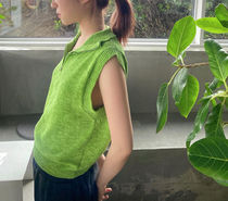 21HS ☆ [TheOpen Product] / ZIP HIGH NECK KNIT VEST, GREEN