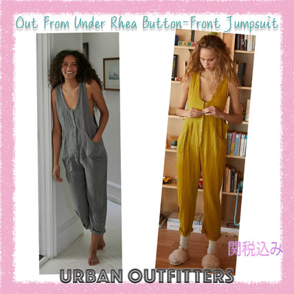 Urban Outfitters★Rhea Button-Front コットン ジャンプスーツ