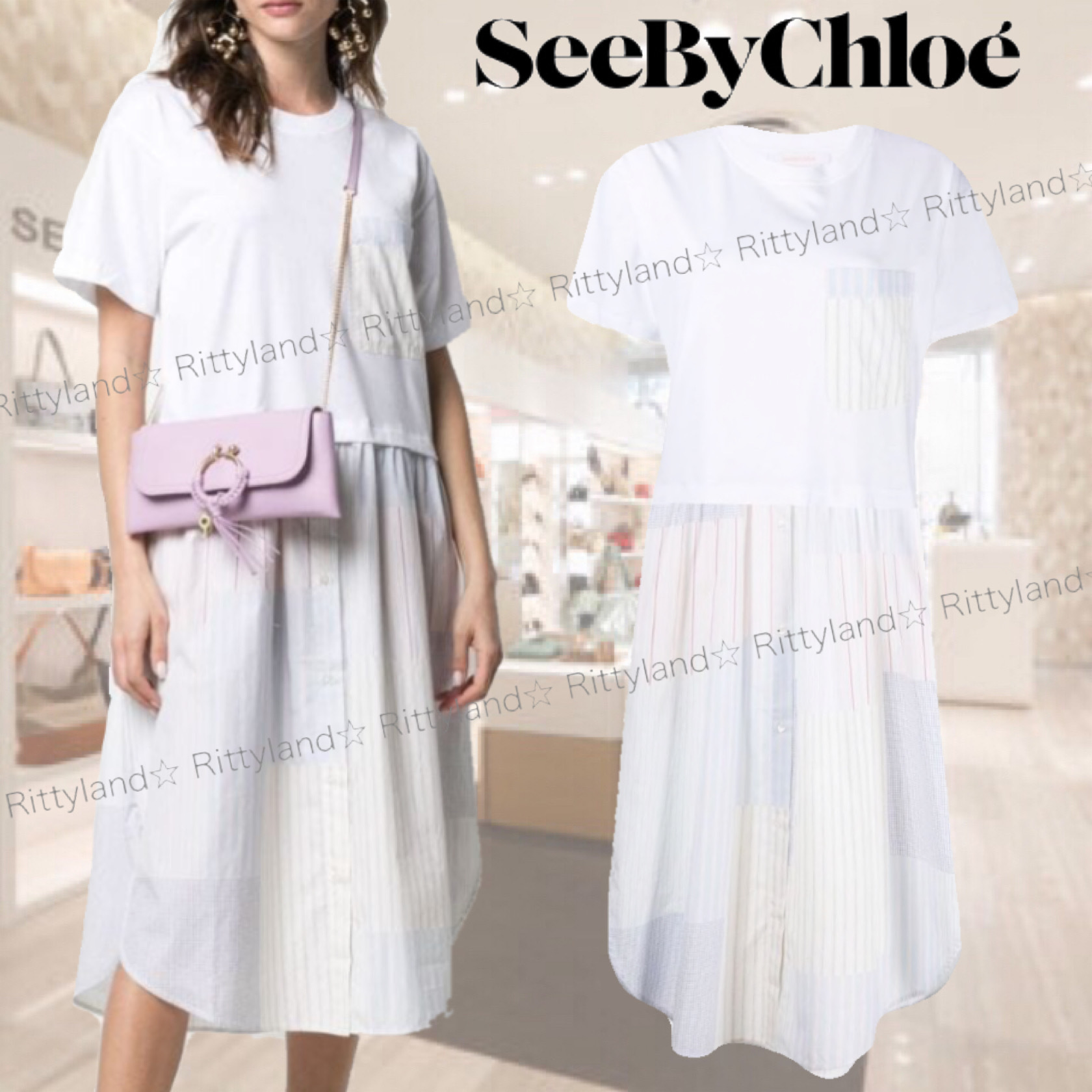 「SALE★21SS」★SEE BY CHLOE★パッチワーク Tシャツワンピース (See by Chloe/ワンピース) 68861207