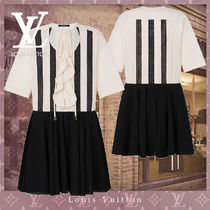 21SS直営LV★BRODERIE ANGLAISE INSERT TWO-TONE BABYDOLL DRESS