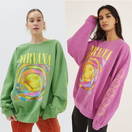 Urban Outfitters スウェット Nirvana Smile Overdyed 緑&ピンク