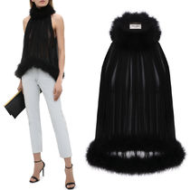WSL1937 GATHERED TANK TOP IN SILK CREPE MUSLIN AND FEATHERS