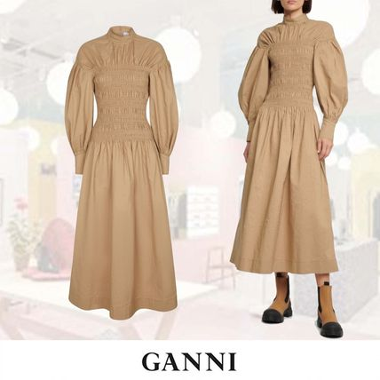 送料関税込★【Ganni】Organic cotton and linen maxi ワンピ