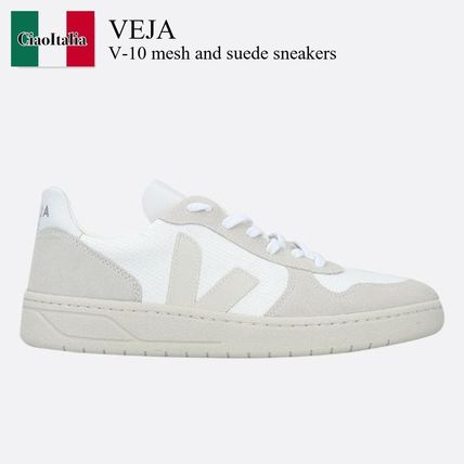 Veja V-10 mesh and suede sneakers