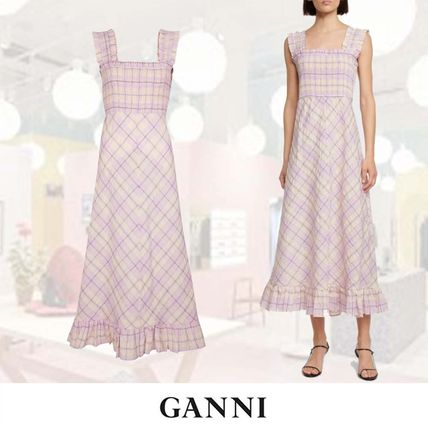 送料関税込★【Ganni】Checked seersucker midi ワンピース