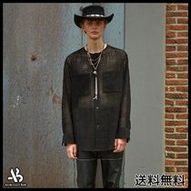 [ANDERSSONBELL]COLLARLESS EMBROIDERY COTTON SHIRTS BLACK