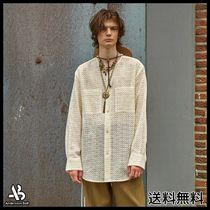 [ANDERSSONBELL]COLLARLESS EMBROIDERY COTTON SHIRTS OFF WHITE
