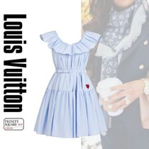 直営店 ルイヴィトン Ruffle Neckline Baby Doll Dress with