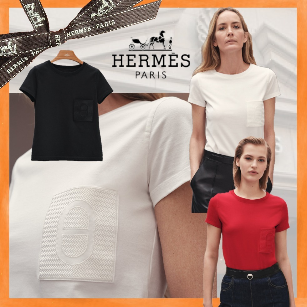 21AW 新作 直営店 HERMES 「Chained'Ancre」Tシャツ 黒・赤・白 (HERMES/Tシャツ・カットソー) H1H4600D27B34