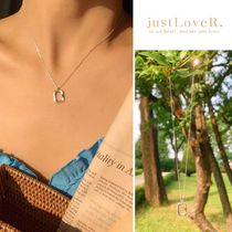 【just LoveR.】925 Silver Clyde Square Necklace