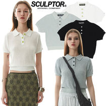 ★SCULPTOR★送料込み★正規品★韓国 人気 Boucle Polo Knit Top