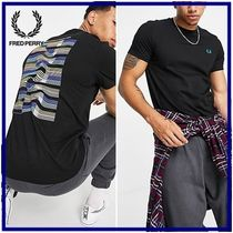 ☆Fred Perry☆abstract wave バックプリント半袖Tシャツ Black