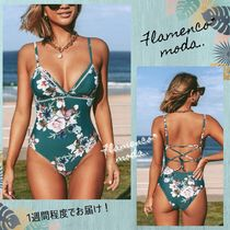 CUPSHE(カップシー) ワンピース水着 関税込★CUPSHE★Green Floral Lace Up OnePiece*ワンピース水着