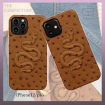 ★THE CASE FACTORY★*SNAKE*OSTRICH【iPhone 12/12 Pro】