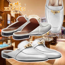 【HERMES】21SS Oz mules Silver Leather サンダル