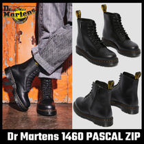 1460 PASCAL ZIP TUMBLED LEATHER LACE UP BOOTS