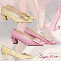 21SS★ROGER VIVIER★Fabric with Metal Buckle レザー パンプス