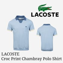 LACOSTE(ラコステ) メンズ・トップス 新作【LACOSTE】Croc Print Chambray Polo Shirt