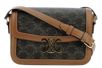 CELINE MEDIUM TRIOMPHE BAG IN TRIOMPHE CANVAS AND CALFSKIN