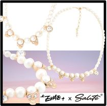 SALUTE(サルーテ) ネックレス・チョーカー ★関税込★EVAE+ MOB★SKULL CUBIC CHARMS FAUX PEARL NECKLAC.E