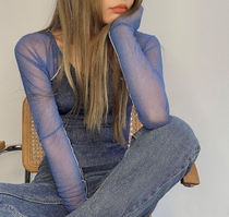 21HS ☆[TheOpen Product] / MESH SLEEVE BOAT NECK TOP/BLUE