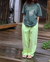 21HS ☆[TheOpen Product] / NEON COLOR TUCK PANTS/NEON YELLOW