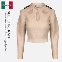 SELF PORTRAIT(セルフ・ポートレイト) ニット・セーター Self Portrait cut-out wool cotton blend cropped pullover