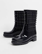 【ASOS】Grateful studded wellie boots in black レインブーツ