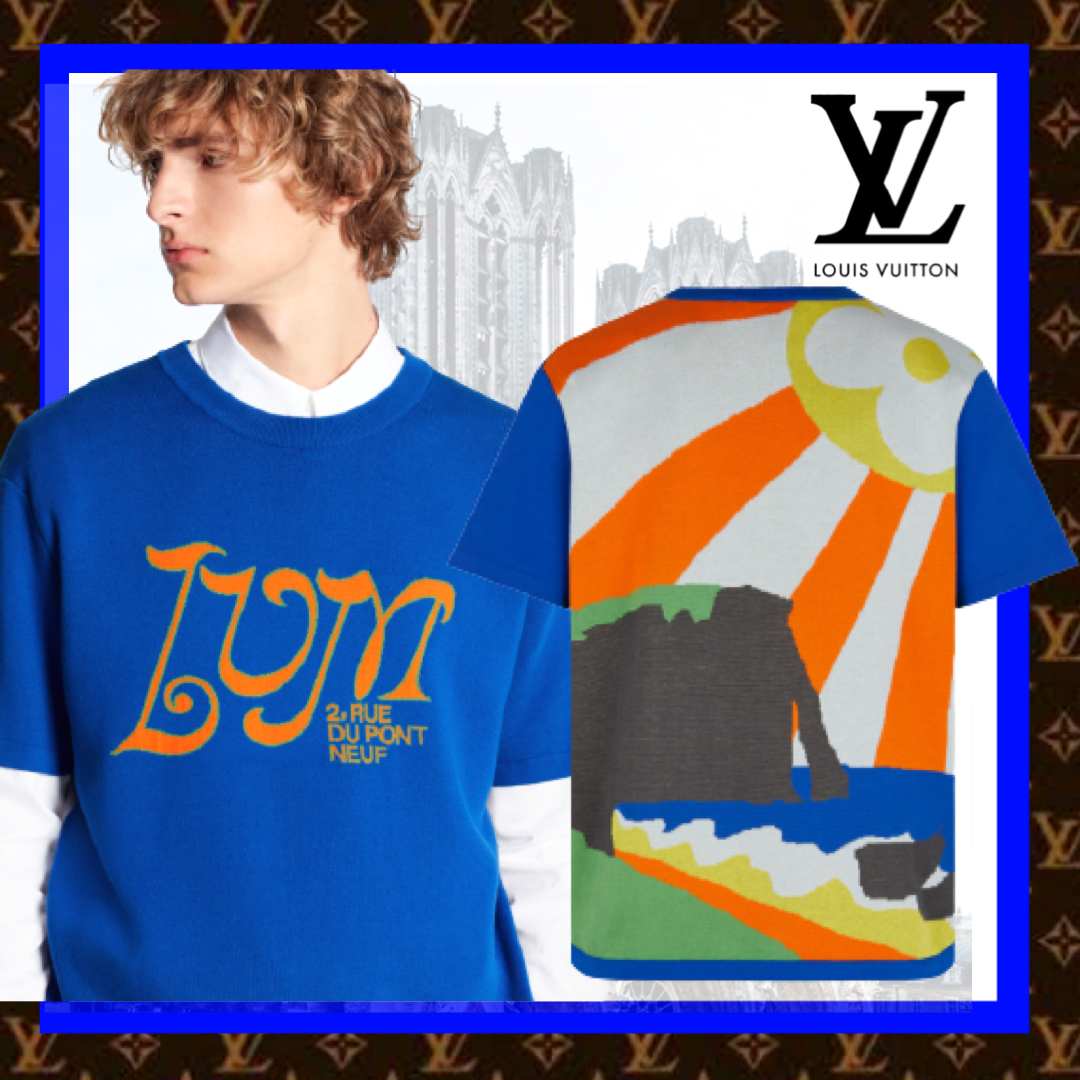 Louis Vuitton グラフィック半袖Tシャツ 両面プリント 青 (Louis Vuitton/Tシャツ・カットソー) 1A8H2A  1A8H2B  1A8H2C