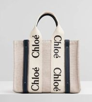 ★CHLOE☆WOODY SMALL LEATHER-TRIMMED COTTON-CANVAS TOTE