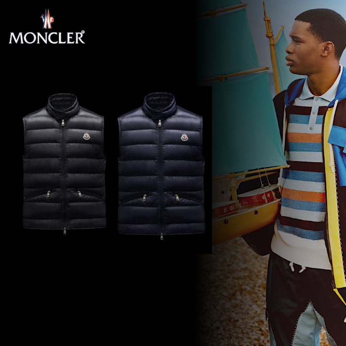 MONCLER「GUI」ウルトラライトナイロンベスト 21SS BLK/NVY (MONCLER/ダウンベスト) G10911A1070053029