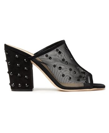 Studded mesh and suede mules