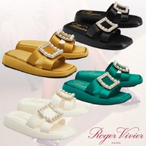 21SS★ROGER VIVIER★Leather with Strass Buckle  サンダル