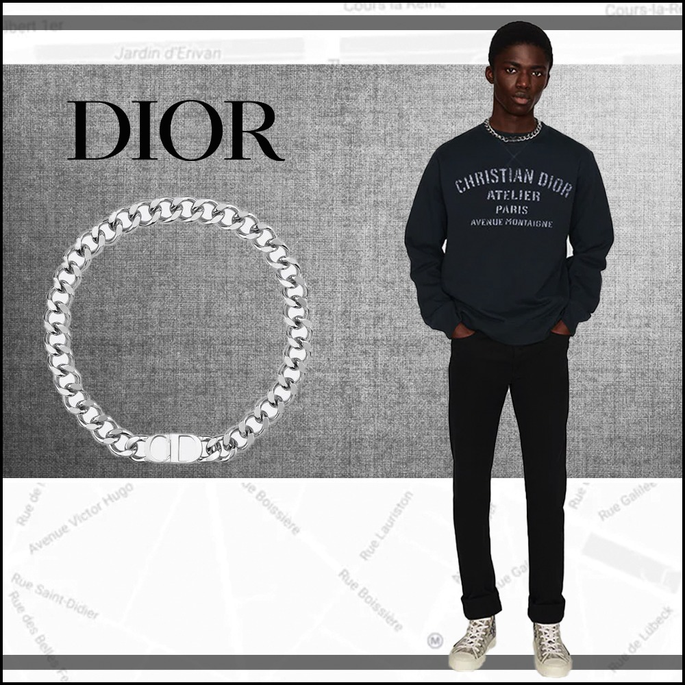 [Dior]*CDロゴ*ネックレス*Silver-plated brass◇送料込 (Dior/ネックレス・チョーカー) N1097HOMMT_D000