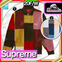 20FW /Supreme Patchwork Velour L/S Polo ベロア ポロシャツ