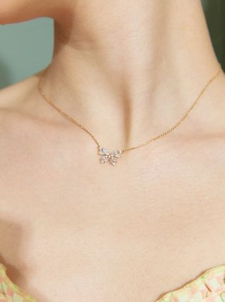 [TATIANA] 925silver☆Clear Butterfly Pendant Necklace 全2色