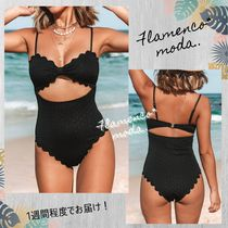 CUPSHE(カップシー) ワンピース水着 関込★CUPSHE★Black Knotted Scalloped *ワンピース水着